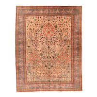 Antique Green Fine Persian Kashan Area Rug Wool Circa 1920, SIZE: 11'2'' x 15'1''