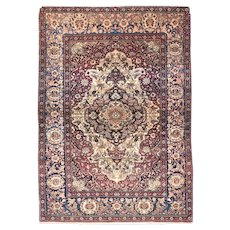 Antique Red Tehran Persian Area Rug Silk & Wool Circa 1890, SIZE: 4'7'' x 6'7''