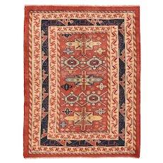 Semi Antique Persian Varamin Area Rug Wool Circa 1950, SIZE: 5'1'' x 6'6''