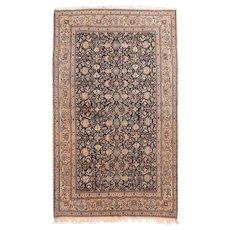Antique Black Persian Nain Area Rug Silk & Wool Circa 1920, SIZE: 5'5'' x 9'0''