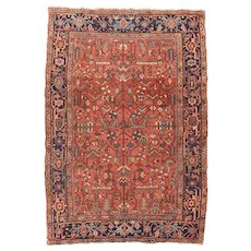 Antique Rust Heriz Persian Area Rug Wool Circa 1910, SIZE: 6'7'' x 9'6''