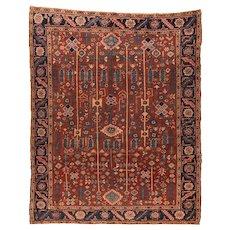 Antique Rust Heriz Persian Area Rug Wool Circa 1900, SIZE: 9'1'' x 11'2''