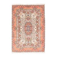 Excellent Rose Tabriz Persian Area Rug Wool & Silk Circa 1970, SIZE: 5'3'' x 7'7''