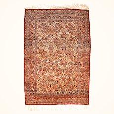 "Antique Rug Persian Silk On Silk Tabriz Haj Jalili Hand Knotted, Circa 1890, Size 4'9"" x 7'0"""