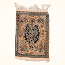 """Extremly Fine Persian Qum Silk On Silk Door Mat Size, Hand Knotted, Size 2'0"""" x 2'9"""""""