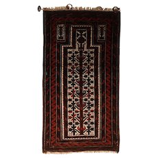 "Fine Antique Persian Baluch Rug, Hand Knotted, Circa 1930's, Size 2'2"" x 4'"