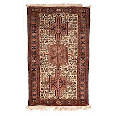 "Fine Vintage Karajeh Heriz Persian Rug, Hand Knotted, Circa 1950's, Size 2'3""x3'7"""
