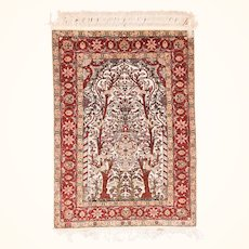 """Extremly Fine Antique Turkish Herekeh Silk On Silk Gold Metal Treads Hand Knotted Circa 1910, Size 3'3"""" x 4'6"""""""