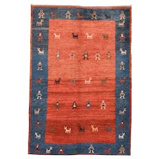 "Fine Vintage Persian Gabbeh, Hand Knotted, Circa 1950's, Size 4'2""x6'"