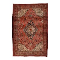 Antique Red Red Farahan Sarouk Persian Area Rug Wool Circa 1890, SIZE: 4'4'' x 6'5''