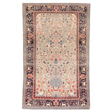 """Extremly Fine Antique Persian Rug  Dabir Kashan Hand Knotted Circa 1910, Size 4'2"""" x 6'7"""""""