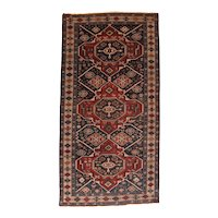 Antique Red Shirvan Russian Area Rug Wool Circa 1890, SIZE: 4'4'' x 8'5''