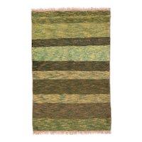Semi Antique Pistachio Green Persian Gabbeh Area Rug Wool Circa 1950, SIZE: 3'5'' x 5'2''