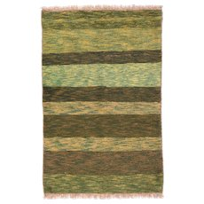 Semi Antique Pistachio Green Persian Gabbeh Area Rug Wool Circa 1950, SIZE: 3'5'' x 5'2''