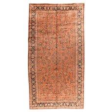 Antique Salmon Sarouk Persian Area Rug Wool Circa 1920, SIZE: 8'11'' x 17'8''