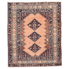 Antique Rose Malayer Persian Area Rug Wool Circa 1920, SIZE: 5'2'' x 10'2''