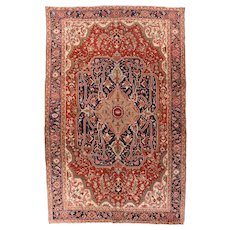 Antique Red Serapi Persian Area Rug Wool Circa 1890, SIZE: 8'7'' x 12'4''