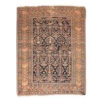Antique Black Shirvan Russian Area Rug Wool Circa 1910, SIZE: 4'3'' x 5'5''