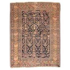 Antique Black Shirvan Russian Area Rug Wool Circa 1910, SIZE: 4'3'' x 5'5''