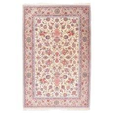 "Antique Red Kashan Dabir Persian Area Rug Wool Circa 1920, SIZE: 4'4'' x 6'10"""