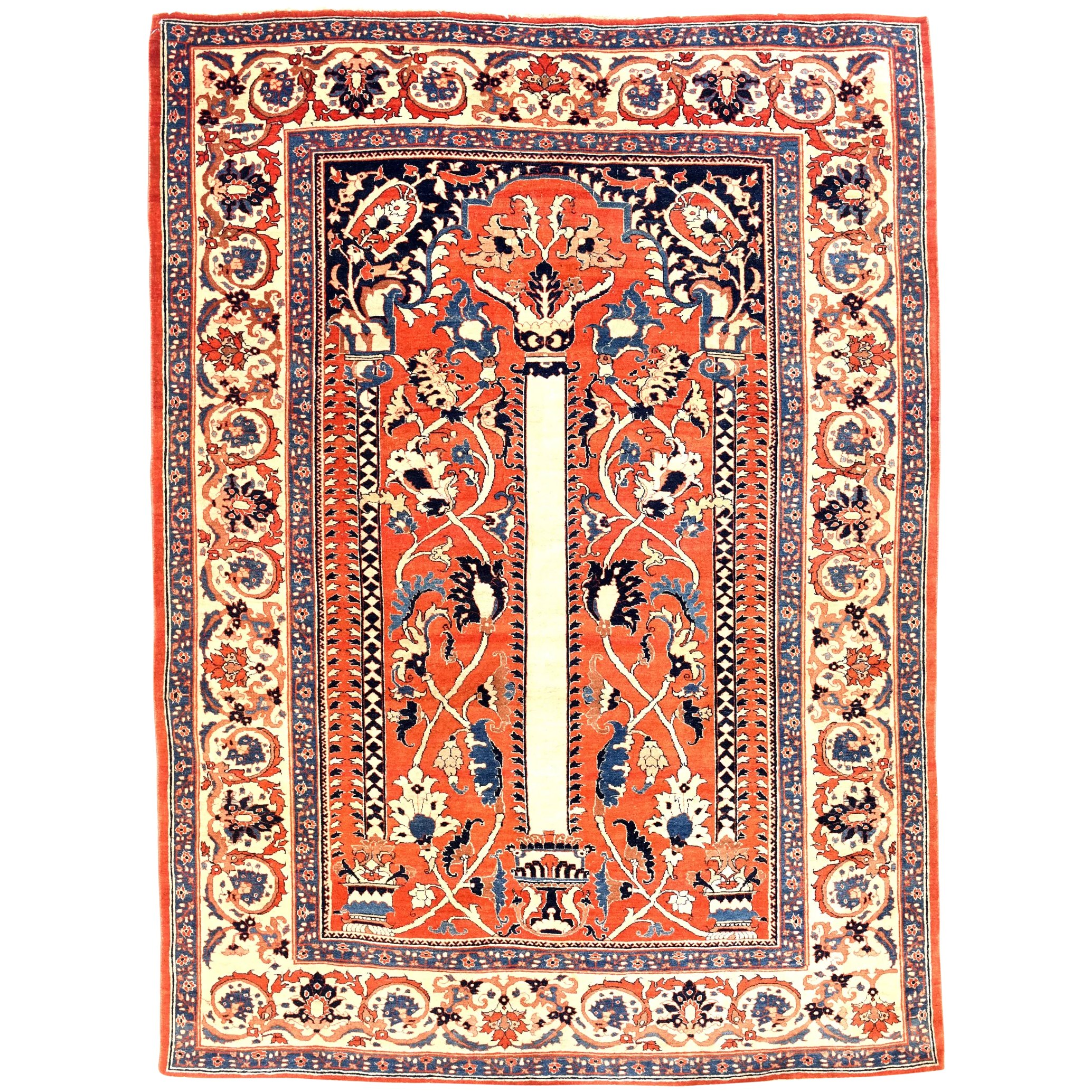 Extremley Fine Rare Antique Persian Rug Tabriz Haji Jalili Hand Knotted Cira 1890 Size 4 9 X 6 2