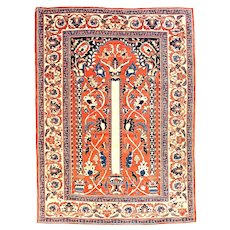 "Extremley Fine & Rare Antique Persian Rug  Tabriz Haji Jalili Hand Knotted Cira 1890, Size 4'9"" x 6'2"""