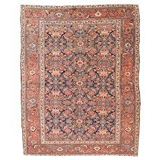 Antique Rust Heriz Serapi Persian Area Rug Wool Circa 1890, SIZE:  4'9'' x 6'0''
