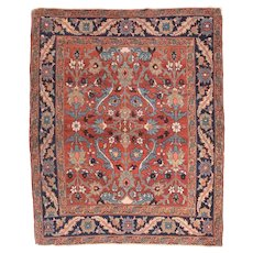 """Fine Antique Heriz Persian Rug, Hand Knotted, Circa 1890, Size 5' x 5'2"""""""