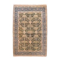 Antique Green Nain Habibian Persian Area Rug Silk & Wool Circa 1920, SIZE: 5'5'' x 8'3''