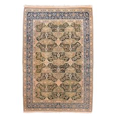 Antique Green Nain Habibian Persian Area Rug Silk & Wool Circa 1920, SIZE: 5'5'' x 8'3''