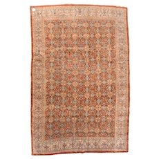 Antique Red Tabriz Persian Area Rug Silk & Wool Circa 1890, SIZE: 6'9'' x 10'3''