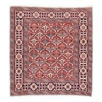 Antique Rust Shirvan Russian Area Rug Wool Circa 1910, SIZE: 3'2'' x 3'4''