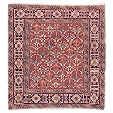 Antique Rust Shirvan Russian Area Rug Wool Circa 1910, SIZE: 3'2'' x 3'4''