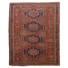 """Fine Antique Sumak Russian Rug, Hand Knotted, Flat Weave , Circa 1880, Size 7'10"""" x 9'10"""""""