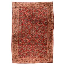 Antique Red Sarouk Persian Area Rug Wool Circa 1920, SIZE: 11'3'' x 18'1''