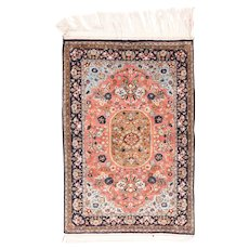 "Extremly Fine Persian Rug  Qum Silk On Silk Door Mat Size, Hand Knotted, Size 2'7"" x 3'9"""