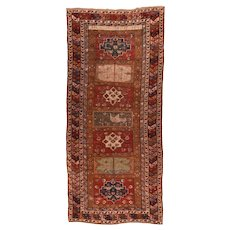 Antique Red Kazak Russian Area Rug Wool Circa 1890, SIZE: 5'10'' x 13'8''