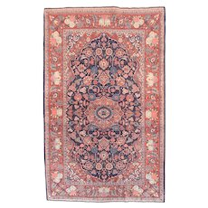"Fine Antique Kashan Persian Rug, Hand Knotted, Circa 1920, Size 4'8"" x 7'7"""