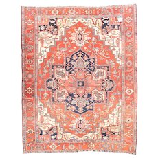 Antique Rust Serapi Persian Area Rug Silk & Wool Circa 1890, SIZE: 10'0'' x 12'3''