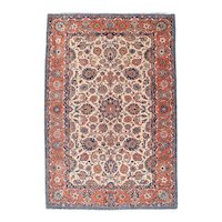 Semi Antique Red Isfahan Persian Area Rug Wool Circa 1890, SIZE: 4'5'' x 6'8''
