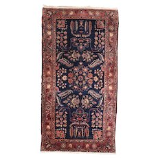 "Fine Antique Mohajeran Sarouk Persian Rug, Hand Knotted, Circa 1910, Size 2'9"" x 5'2"""
