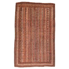 Antique Rust Afshar Persian Area Rug Wool Circa 1910, SIZE: 4'0'' x 6'2''