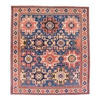 Antique Blue Shirvan Caucasian Russian Area Rug Wool Circa 1890, SIZE: 6'11'' x 7'11''