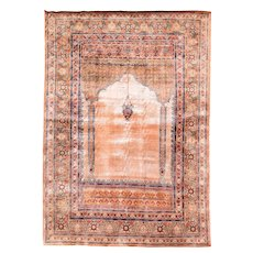 "Extremly Fine Antique Persian Rug Tabriz Haji Jalili Silk On Silk Hand Knotted Circa 1890, Size 3'9"" x 5'8"""