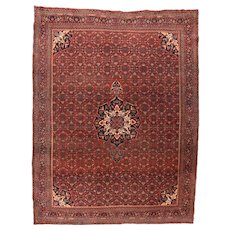 Antique Red Bijar ( Bidjar ) Persian Area Rug Wool Circa 1900, SIZE: 9'0'' x 12'1''