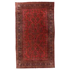 Antique Rust Persian Kashan Area Rug Wool Circa 1920, SIZE: 10'1'' x 16'0''