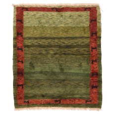 Semi Antique Rust Persian Gabbeh Area Rug	Wool Circa 1950, SIZE: 4'0'' x 4'7''