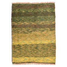 Semi Antique Light Green Persian Gabbeh Area Rug Wool Circa 1950, SIZE: 3'5'' x 5'0''
