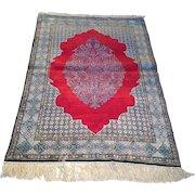 Antique Persian Qum Silk Rug Size: 3.5 x 5.2