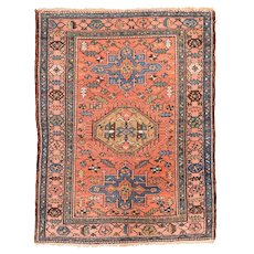 Antique Rust Tribul Heriz Persian Area Rug Wool Circa 1890, SIZE: 4'0'' x 6'0''